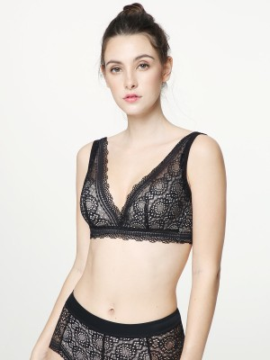 NiTi Shape-Memory Wire Non-padded Lace Plunge Bra (Cup C-D)