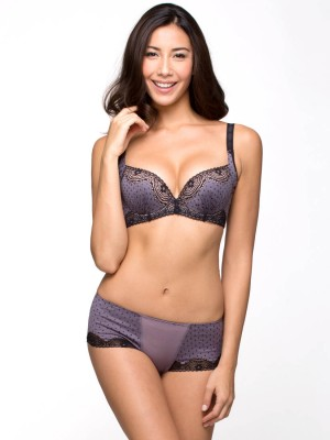 Cotton Blended Lace Demi Moulded Bra