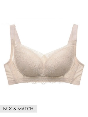 Lace Non-Wired Push in Bra (Cup D-G)
