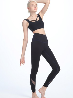 High Waist Mesh Panel Shaping Leggings