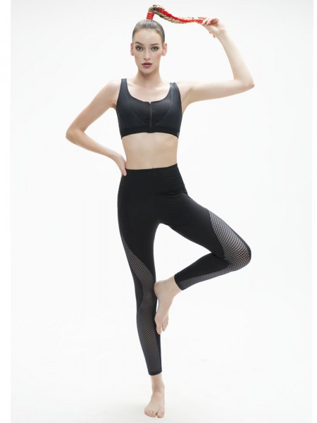 Hi-waist Side Mesh Panel Legging