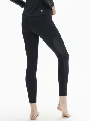 Leather-like Panel Leggings