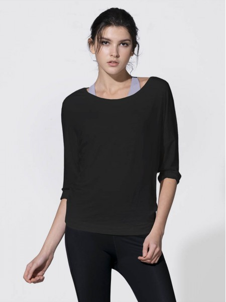 Elbow Sleeve Crisscross Open Back Tee