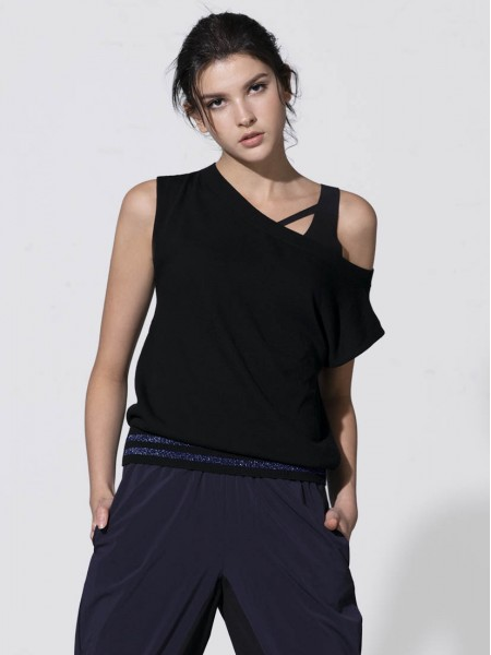 Lurex Trimmed Off-shoulder Ribbed Tank