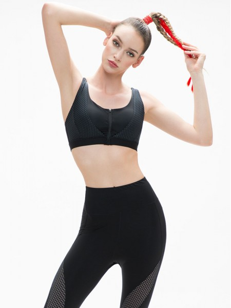 Zip-Front Wireless Sports Bra (Cup B-E)