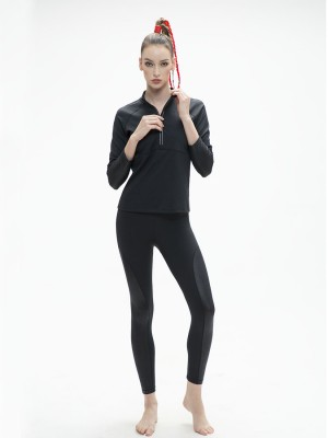 Leather-like Partial Zip Placket With Thumbhole