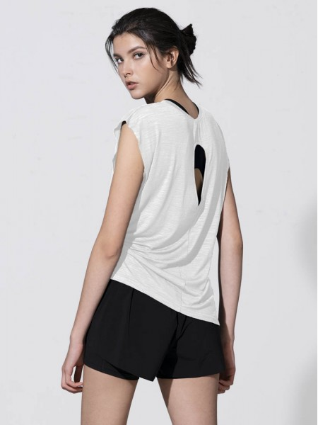 Cut-out Back Sleeveless Tee - Print