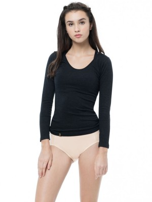 Wool-like Thermal Long Sleeve Tee - Round Neck